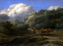 212/berchem, nicolaes - a man and a youth ploughing with oxen